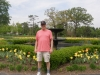 Dan and fountain with tulips at garden in St Louis 2012