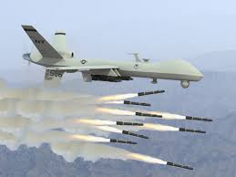Drone shooting many missiles