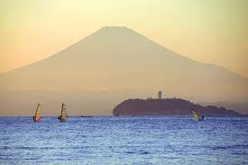 Enoshima with Fujiyama behind