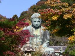 Kamakura Buddha with tres and sky