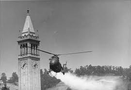 Berkeley campus helo spraying gas 1960's