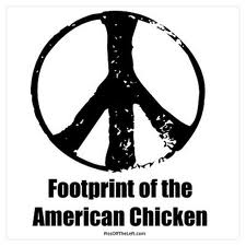 Sign of the footprint of the American Chicken
