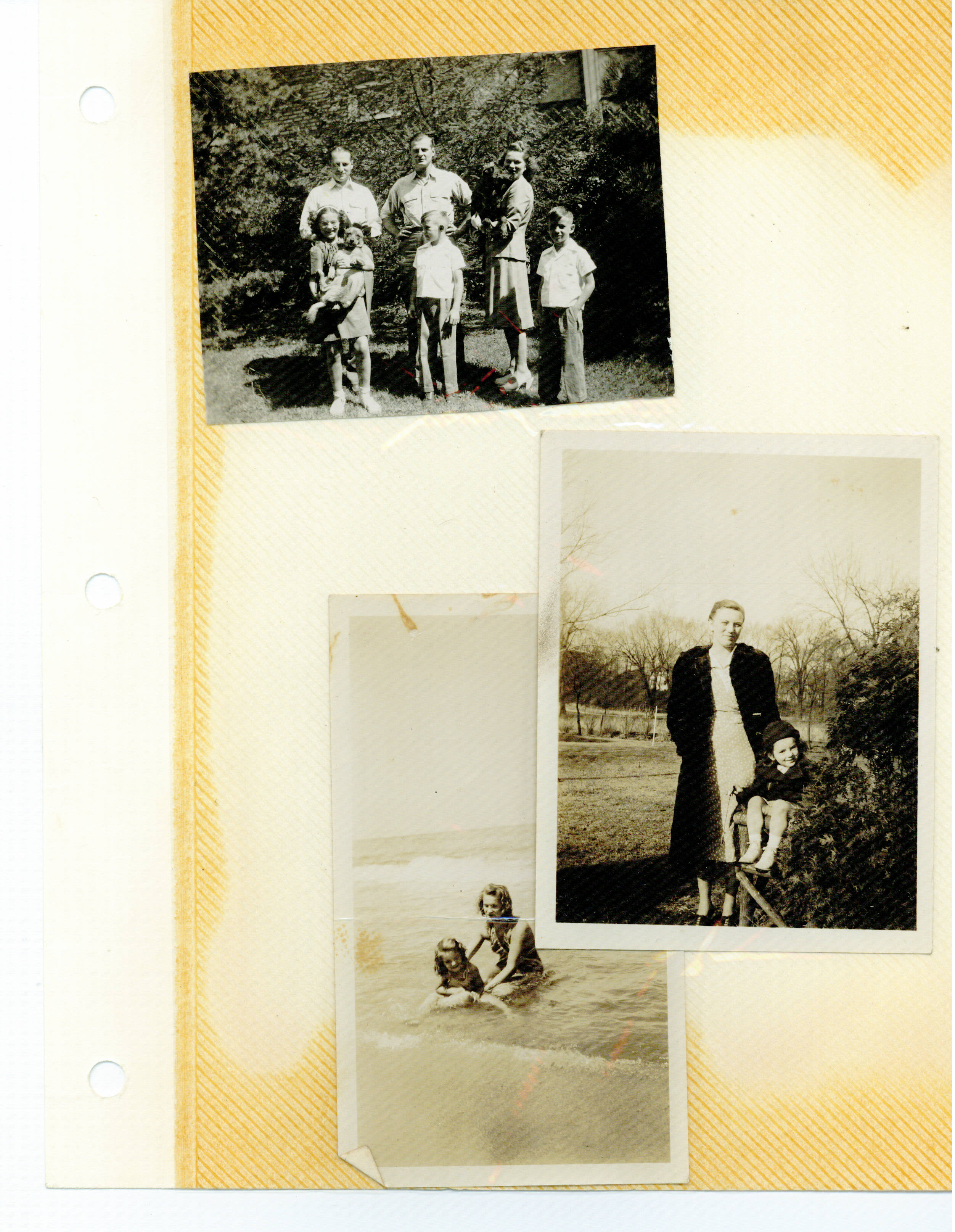 Dad, Paul, Jane back Val, Chip, and Dan Morgan Park 1945,Hilda and Val and Jane and Val 1939